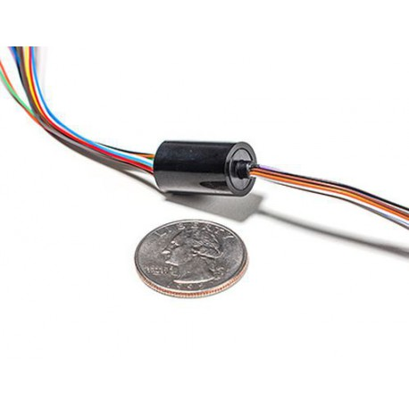 Miniature Slip Ring - 12mm diameter, 12 wires, max 240V @ 2A