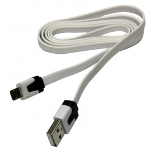 Kabel USB A - micro-USB B, 1m, płaski, biały