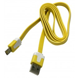 USB A cable - micro-USB B, 1 m, flat, yellow