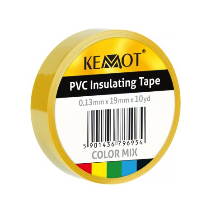Insulation tape KEMOT 0.13x19x10Y, yellow adhesive