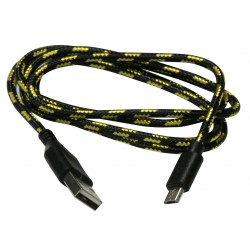 USB A cable - micro-USB B, 1 m, black braid