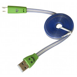 USB A cable - micro-USB B, 1m, white-blue, green illuminated plugs