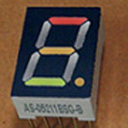 7-segment LED display, 1 13.20mm digit, black green + red background, common anode