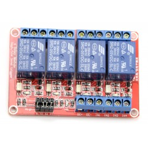 modRL04_ISO - moduł mocy z czterema przekaźnikami 5V i optoizolacją wejść