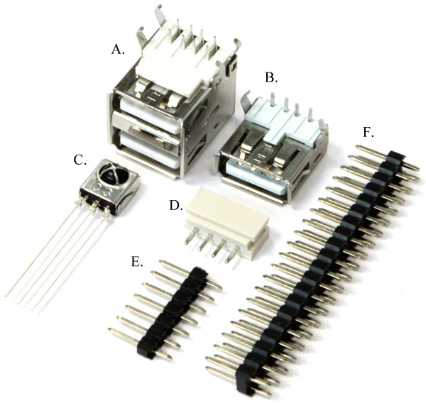A set of connectors for the computer Odroid-C0