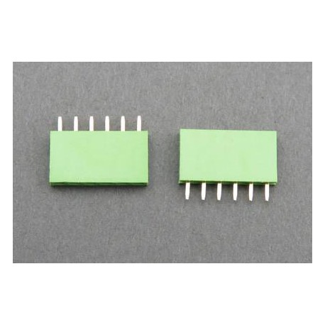 Contact strip 2.54mm straight 1x6, green
