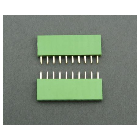 Contact strip 2.54mm, straight 1x10, green