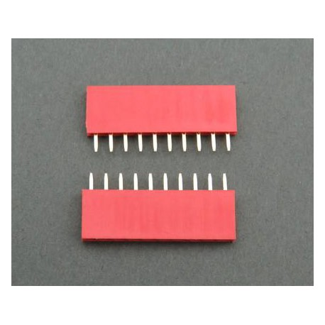 Contact strip 2.54mm, straight 1x10, red