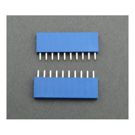 Contact strip 2.54mm, straight 1x10, blue