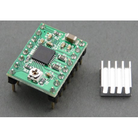 Stepper motor controller with A4988 - included with the heatsink