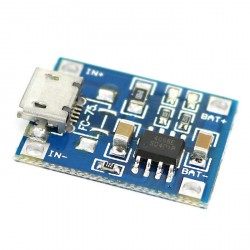 Li-ion battery charger module with TP4056 chip and microUSB connector