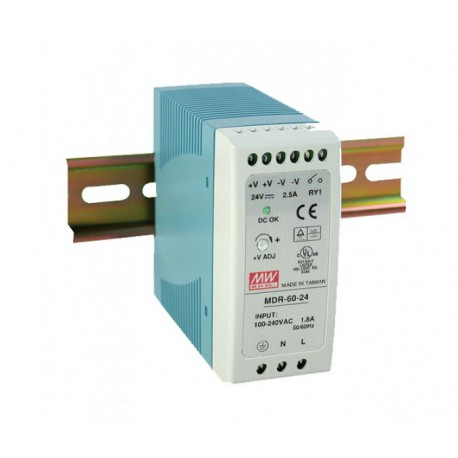 Switching power supply 60W, 12VDC, 5A, MDR-60-12 MEAN WELL