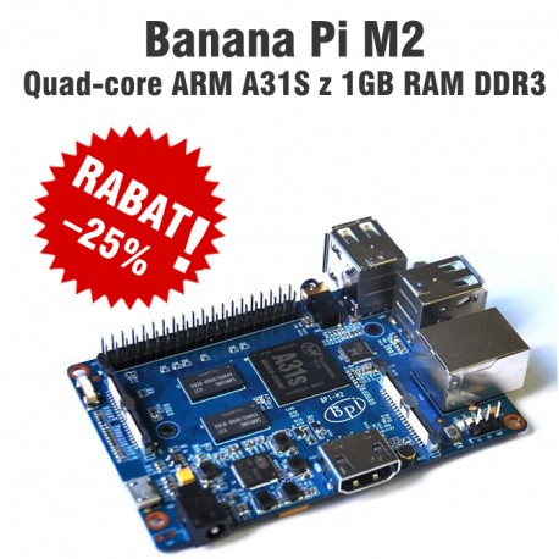 Banana Pi M2 - quad-core ARM A31S z 1GB RAM DDR3