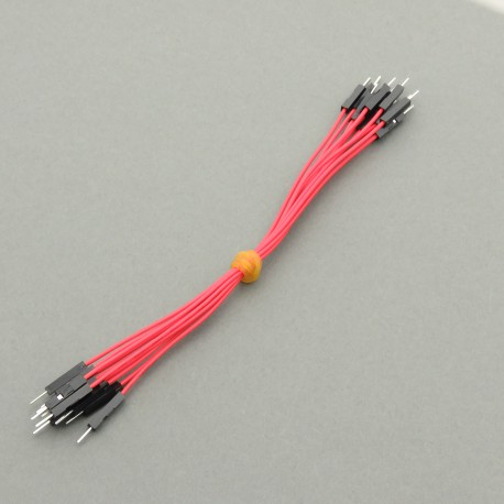Connection cables M-M, red, 15 cm, for contact plates - 10 pcs.