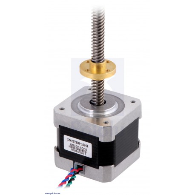 Silnik krokowy NEMA17 ze śrubą trapezową 38cm - bipolarny, 200 kroków/obr, 2,8V, 1,7A