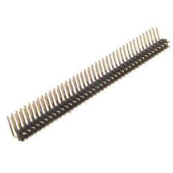 Goldpin black 2x40 pins. Angled for printing, 2.54mm pitch