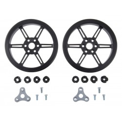 Black Polol wheels 80x10mm for 3mm and 4mm shafts