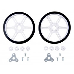 White Polol wheels 80x10mm for 3mm and 4mm shafts