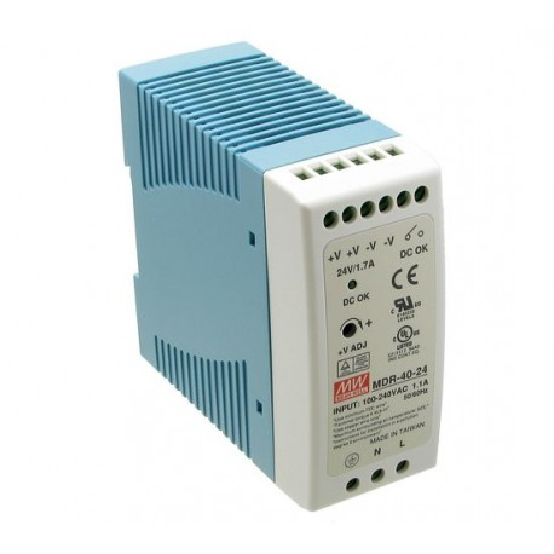 Zasilacz impulsowy 40W, 24VDC, 1,7A, MDR-40-24 Mean Well