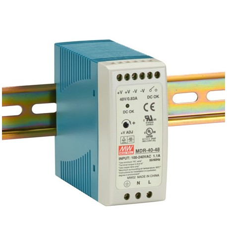 Switching power supply 40W, 48VDC, 0.83A, MDR-40-48 Mean Well