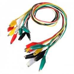 A set of 10 wires with crocodile tips