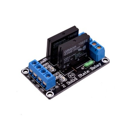 2-channel SSR 240V / 2A relay module with fuse