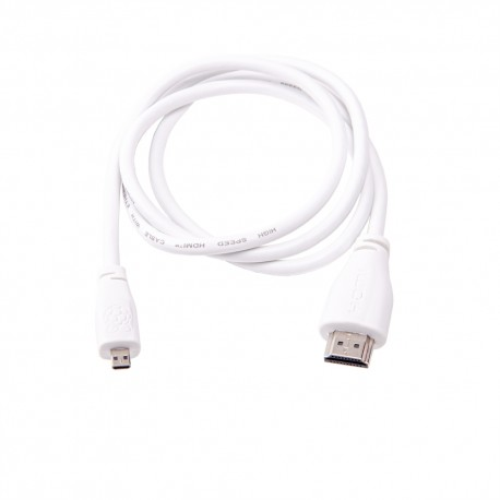 Official microHDMI cable - HDMI to Raspberry Pi (white)