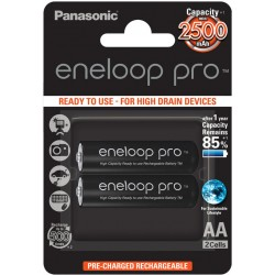 Panasonic Eneloop PRO R6/AA 2500mAh Rechargeable Batteries - 2 pcs