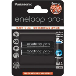 Panasonic Eneloop PRO R03/AAA 930mAh Rechargeable Batteries - 2 pcs