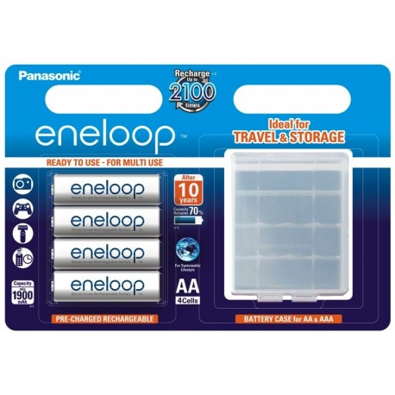 Panasonic Eneloop R6/AA 2000mAh Rechargeable Batteries - 4 pcs + case