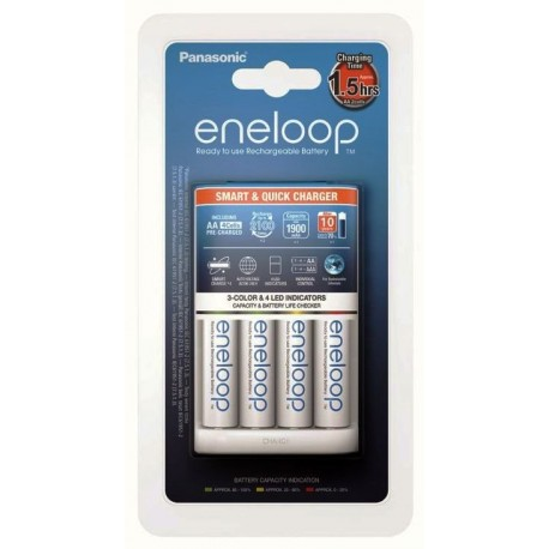 Panasonic Eneloop BQ-CC55 Ni-MH charger + 4 R6/AA Eneloop 2000mAh batteries