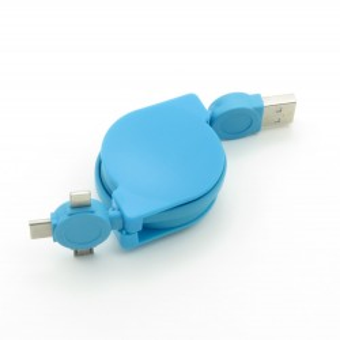 Kabel USB 3w1 USB A - microUSB/USB Typ C/Lightning