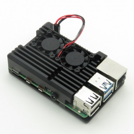 Heatsink/case with double fan for Raspberry Pi 4