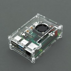 Case for Raspberry Pi 4 model B, transparent (with fan)