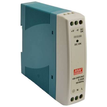 Industrial DIN Rail Power Supply 10W, 24VDC, 0.42A, MDR-10-24 MEAN WELL