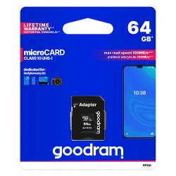 GOODRAM MicroSDHC 64GB Class10 UHS-I memory card with adapter
