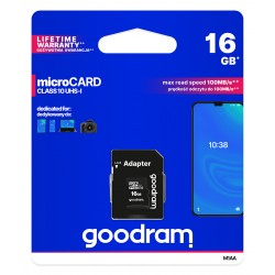 GOODRAM microSDHC 16GB class 10 memory card with adapter