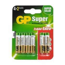 Battery AAA (R3, LR03) 1.5V alkaline GP Super - 6 items