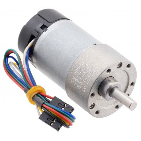 10:1 Metal Gearmotor 37Dx65L mm 12V with 64 CPR Encoder