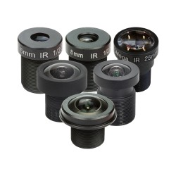 Set of 6 M12 lenses with an adapter for the Raspberry Pi HQ camera