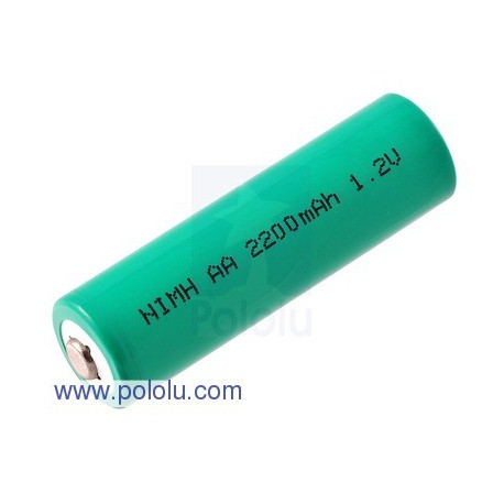Pololu 1003 - Rechargeable NiMH AA Battery: 1.2 V, 2200 mAh, 1 cell