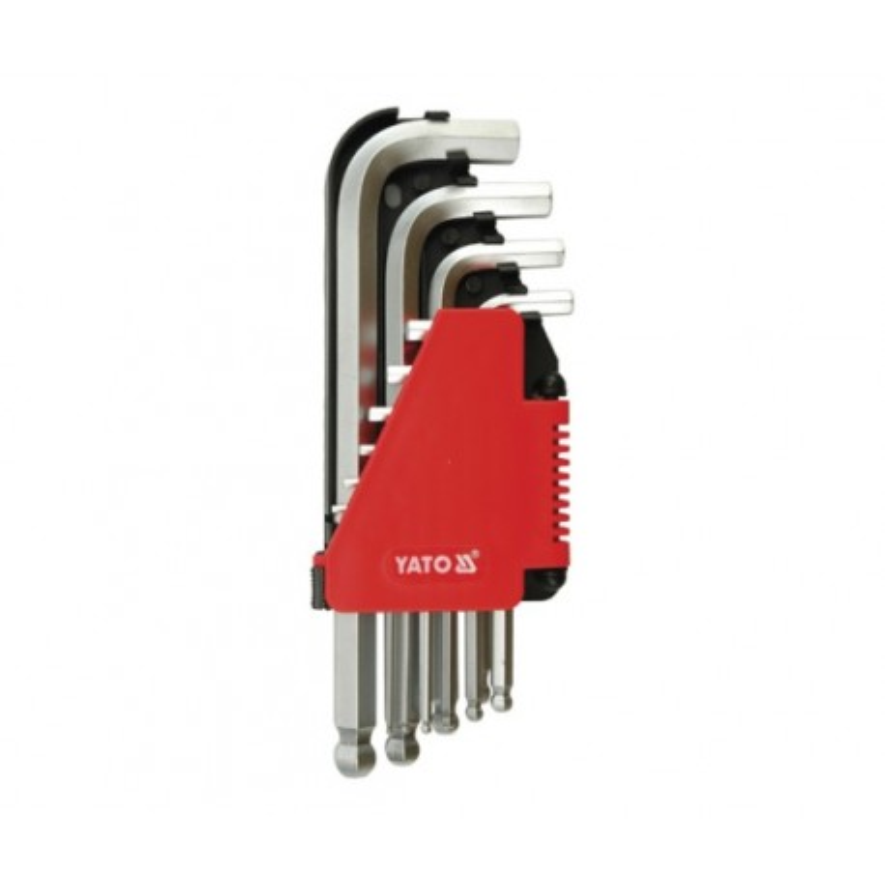 Hex key set, ball-shaped end 2-12 m, 10pcs - Yato YT-0509