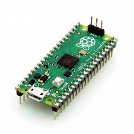 Raspberry Pi Pico with headers mounted - board with Raspberry Silicon RP2040 microcontroller