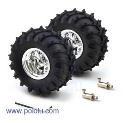 Pololu 1557 - Dagu Wild Thumper Wheel 120x60mm Pair with 4mm Shaft Adapters - Chrome