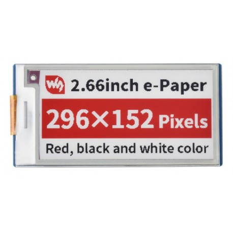 """Pico-ePaper-2.66-B - moduł z 3-kolorowym wyświetlaczem e-Paper 2,66"""" 296x152 dla Raspberry Pi Pico"""