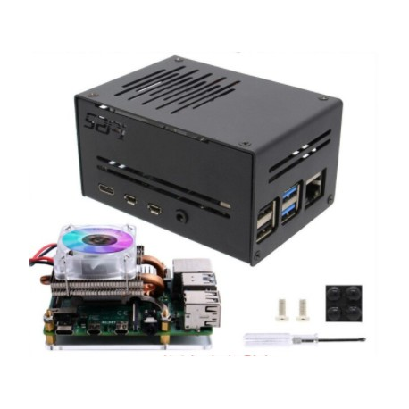 Metal case for Raspberry Pi 4 model B with Ice Tower Low Profile cooling