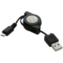 USB A cable - micro-USB B, retractable, 73cm