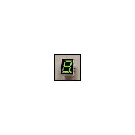 7-segment LED display, 1 digit 9.90mm, bright green, common cathode