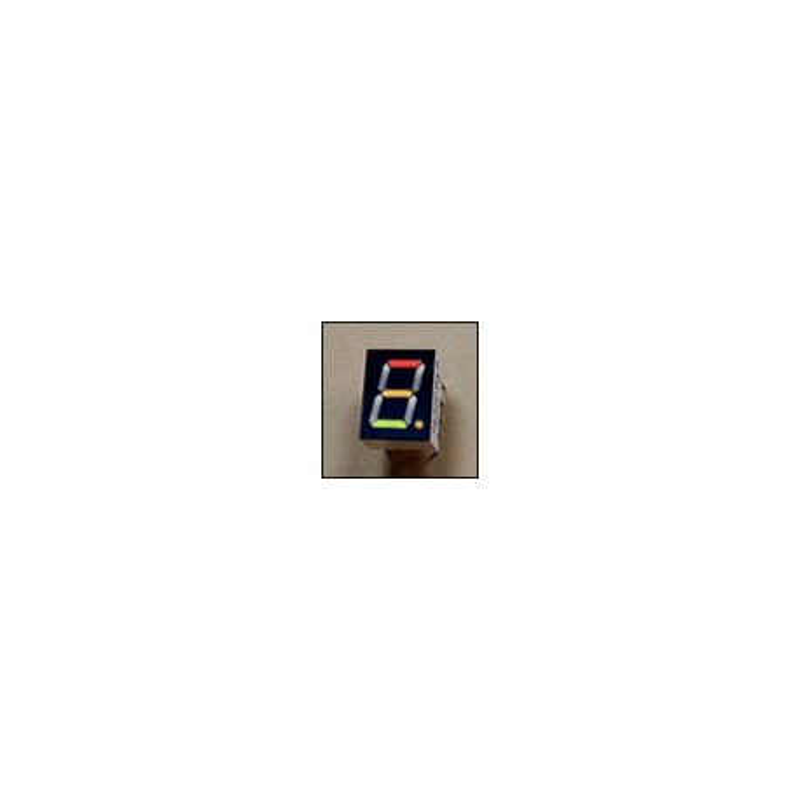 Wyświetlacz LED 7-segmentowy, 1 cyfra 9,90mm, zielony + czerwony, wspólna anoda