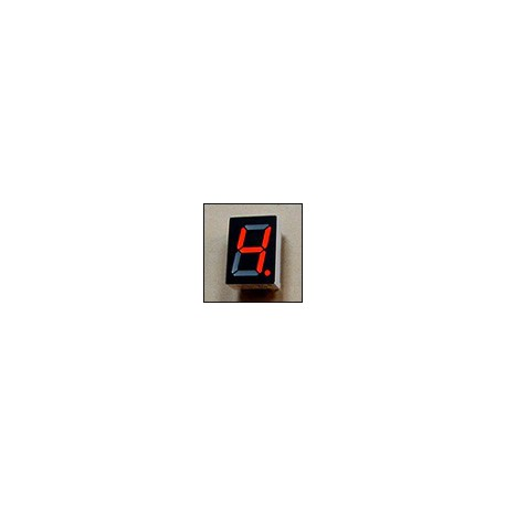 7-segment LED display, 1 13.20mm digit, 4mm legs, red, common anode